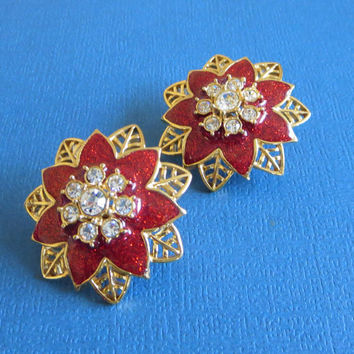 "Stunning Vintage Avon ""Festive Sparkle"" Red Enamel & Icy Clear Rhinestone Poinsettia Clip Earrings"