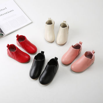 2016 Winter chidlren genuine leather boots kids snow boots toddler girls winter shoes ankle boots for girls leather shoes