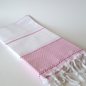 Turkish Bath Towel: Peshtemal, Natural cotton, Home Living, Bath Body, Beach, Spa Towel, Pink, gift, guest towel, soft cotton, bridesmaid