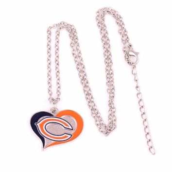 Drop shipping Enamel single-sided Chicago Bears Swirl Heart Football team logo charm with link chain sports Necklace