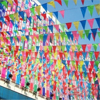 10*PCS Total 50M Rainbow Bunting Party Flags Huge Birthday Party Celebration Market Stalls Decoration