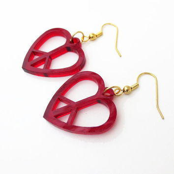 Peace Heart Earrings Free Shipping Wood Hippie Earrings Peace and Love Jewelry Laser Cut Peace Earrings Lightweight Dangle Symbol
