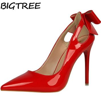 BIGTREE Pink White Women Pumps Patent Leather High Heel Dress Shoes Bowknot Butterfly Knot Bow Cut Out Sandals Woman Stilettos