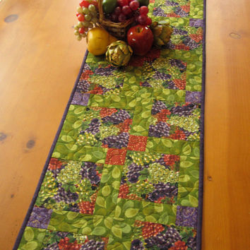 Table Runner Quilted Handmade Grape Clusters Home Decor Purple and Green TableRunner