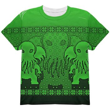 Ugly Christmas Sweater Big Cthulhu Greater Gods All Over Youth T Shirt