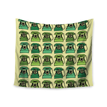 "Holly Helgeson ""Grandma's Telephone"" Green Yellow Wall Tapestry"