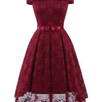 Red or Green Victorian Off Shoulder Lace Dress