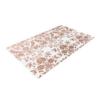 "KESS Original ""Baroque Rose Gold"" Abstract Floral Woven Area Rug"