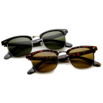 Horned Rim Half Frame Sunglasses