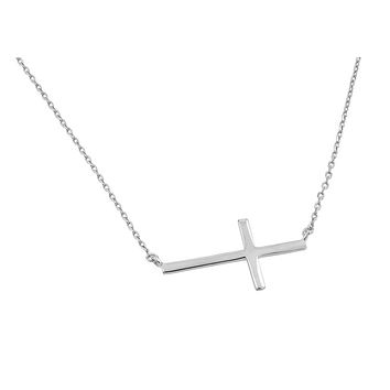 .925 Sterling Silver Rhodium Plated Plain Sideways Solid Cross Pendant Necklace 18 Inches
