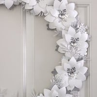 Jack Frost Paper Flower Wreath Snow White Winter Wreath Silver Holiday Decor 18""