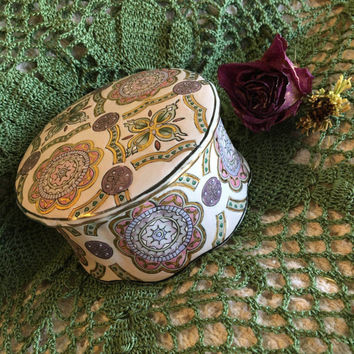 Pink and Purple Floral Trinket Dish Ceramic Lidded Jewelry Box With Flowers Hearts and Geometric Designs Vintage Jewelry Storage Home Decor