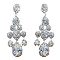 Ariana Clear Vintage Sassy Chandelier Statement Earrings | Cubic Zirconia | Silver