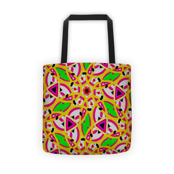 Neon Green Pink Yellow Hand Drawn Tote bag