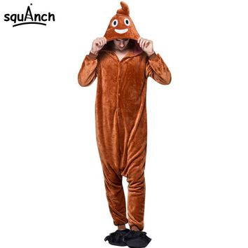 Funny Onesuit Adult Brown Cartoon Pajama Poo Emoji Costume Men Women Overalls Party Suit Winter Flannel Sleepwear Big Size