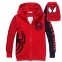 Reatil Free Shipping 2014 Autumn H Nova kids spiderman embroidered hoodie jackets Boys cartoon outerwear children`s coat  m - Default