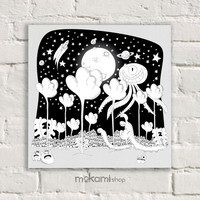 "Print canvas Ready to hang FANTASY LAND, children Wall, kids Bedroom Painting, Art Home & Living Room 7.8""x7.8"""