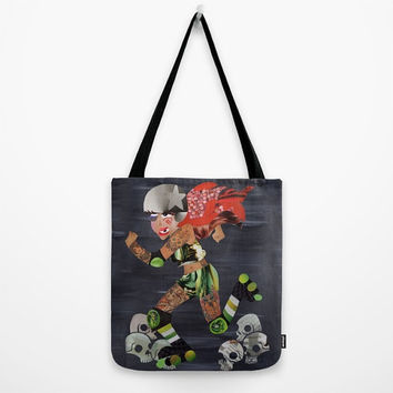 Roller Derby Tote Bag, Canvas Tote Bag, Womens Totes, Shopping Tote, Beach Tote, Unique Valentine Gift Ideas, Badass Derby Doll
