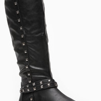 Black Faux Leather Calf Length Pyramid Stud Boot