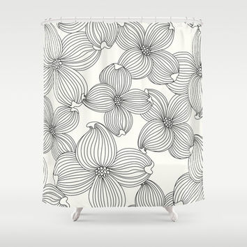Dogwood Floral Linear: Black Ivory Shower Curtain by Eileen Paulino