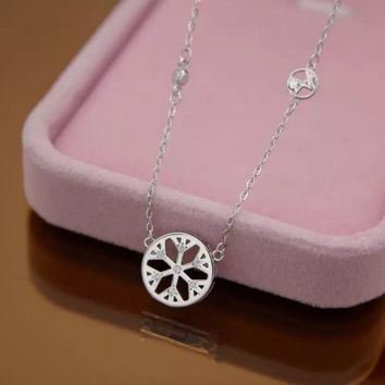 Personalized hollow snowflake 925 sterling silver necklace