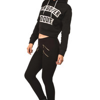 Ashleigh Hangover Slogan Crop Hoodie Top in Black