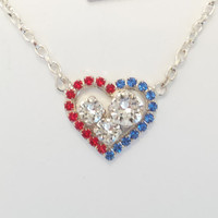 SWAROVSKI CRYSTAL NECKLACE, heart, July 4th, military, great gift, meaningful