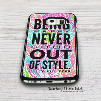 Lilly Pulitzer Quote-Lets Cha Cha-Being Happy Never Gose Out Be Style Samsung Galaxy S6 Case Cover for S6 Edge S5 S4 Case