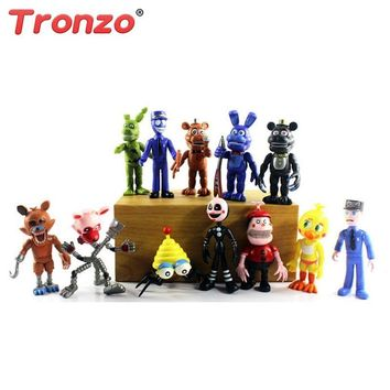 Tronzo 12Pcs/Lot 10cm Five Night At Freddy Action Figures Freddy Toys  Bear Collection Dolls Gift For Child Boy ping