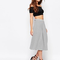 New Look Stripe Midi Skirt