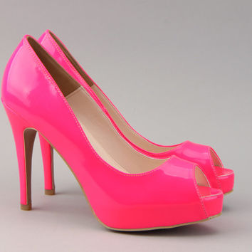 small size ladies open toe high heels neon pink