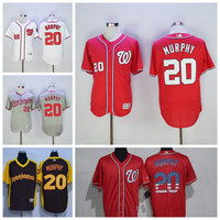 Washington Nationals Baseball 20 Daniel Murphy Jersey Vintage Flexbase Cool Base Stitched Button Home Road White Grey Blue Red Hot Sale Mens