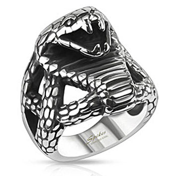Spikes Stainless Steel Fierce Cobra Wide Cast Biker Ring