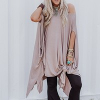 The Wren Oversized Tunic Top - Mocha