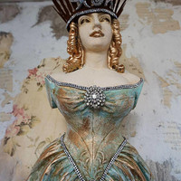 Ship figurehead Statue nautical guiding figure wall hanging shabby French chic distressed Nordic woman w/ crown decor anita spero design