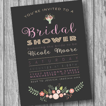 Printable Bridal Shower Invitation, Floral Invite, Wedding Shower Invitation, Bridal Shower Invites, Invitation, Shower, Flowers, Boho (DIY)
