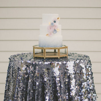 Pewter sequin tablecloth, gray sequin table linen,  pewter wedding decorations