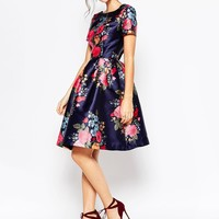 Chi Chi London Midi Prom Dress with Full Skirt and Sleeve