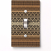Tribal Light Switch Cover in tan and caramel brown