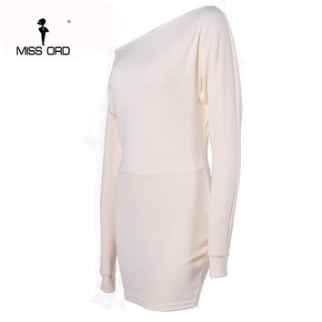 Sexy tight fitting long-sleeved round neck dresses