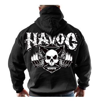 Skull Print Zipper Men's Long-Sleeved Hoodie