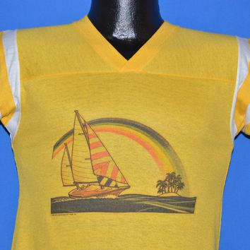 80s Sailboat Rainbow Airbrushed Jersey t-shirt Youth Large