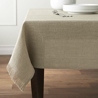 "Beckett Natural 60""x60"" Tablecloth."