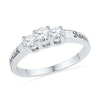 1/3 CT. T.W. Diamond Three Stone Promise Ring in Sterling Silver (2 Names)