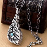 Feather Shape Locket Necklace from topsales