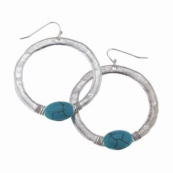 Worn Silver Wire Wrapped Turquoise Hoop Earring