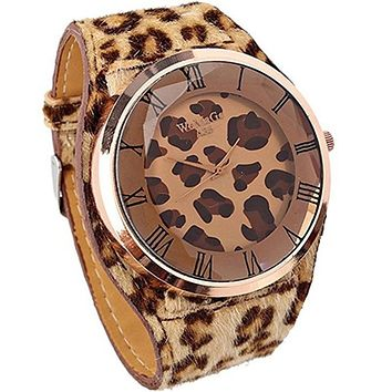 The latest fashion leopard print large dial quartz clock women's tights leather strap leisure Watch