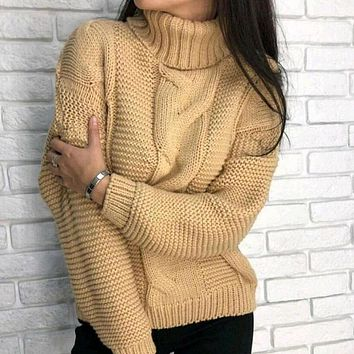 Turtleneck Cable Knitted Thick Chunky Sweater