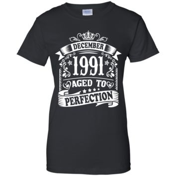 December 1991 Aged To Perfection Birthday Gift T-Shirts Ladies' 100% Cotton T-Shirt