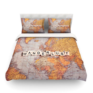 "Sylvia Cook ""Wanderlust Map"" World Featherweight Duvet Cover"